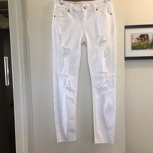 Eunina white distressed  Skinny Ankle jeans